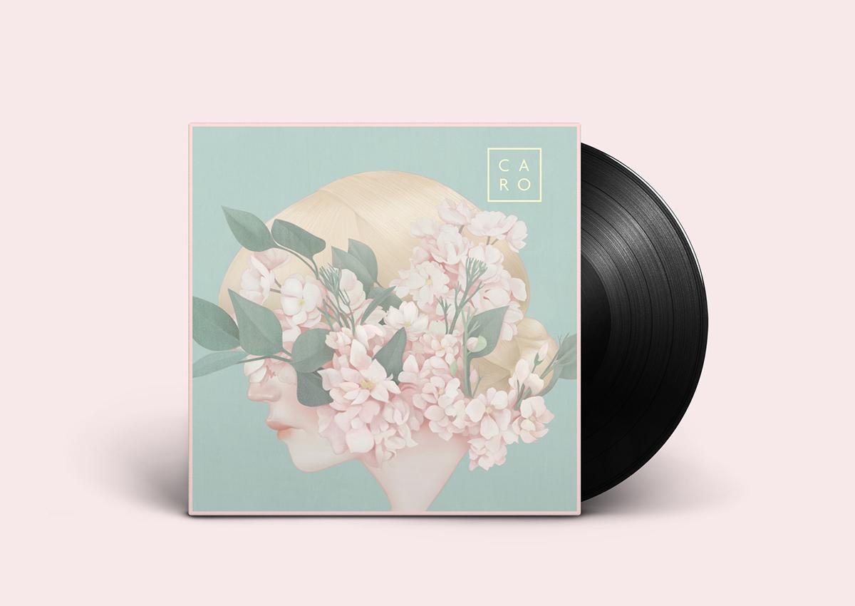 """Design e ilustração da capa do single """"Imaginary Flower"""" da cantora americana Caro"""