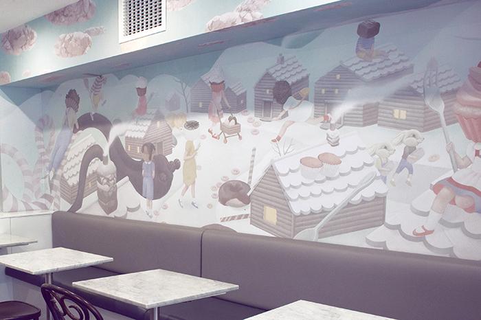 Painel feito em uma chocolateria/café de Sydney
